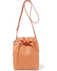 Mansur Gavriel Mini Leather Bucket Bag Camel