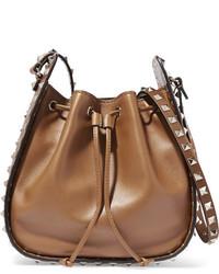 Valentino The Rockstud Bucket Leather Shoulder Bag Tan