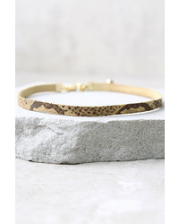 Vanessa Mooney Piper Tan Snake Print Leather Choker Necklace