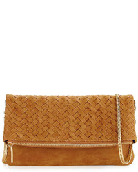 Neiman Marcus Distressed Woven Flap Top Clutch Bag Sand