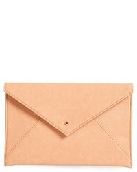 Faux Leather Envelope Clutch Black