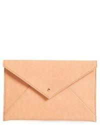 Faux Leather Envelope Clutch Black
