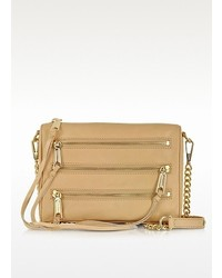 Rebecca Minkoff Mini 5 Zip Biscuit Leather Clutch Wshoulder Strap