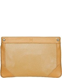 Mofe Lacuna Oversized Perforated Leather Pouch Style Clutch With Rivet Studs And Interior Pockets