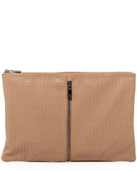 Neiman Marcus Perforated Zip Large Clutch Bag Camel