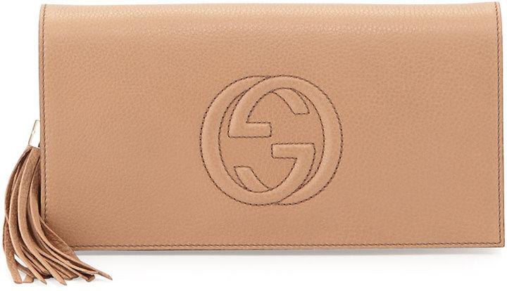 71879457caec Gucci Soho Leather Clutch Bag Camelia, $850 | Neiman Marcus ...