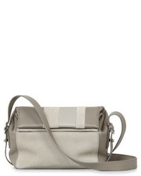AllSaints Casey Calfskin Leather Suede Small Crossbody Bag Beige