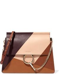 Chloé Faye Paneled Leather Shoulder Bag Brown