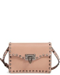 Valentino Rockstud Calfskin Leather Shoulder Bag Brown