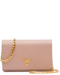 Prada Saffiano Lux Crossbody Bag Blush