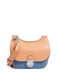 Tory Burch Small James Denim Leather Saddle Bag