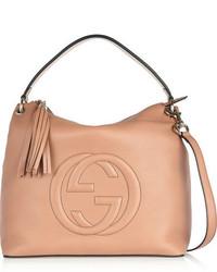 Gucci Soho Hobo Large Textured Leather Shoulder Bag Sand