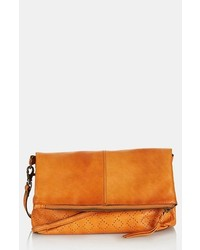 Topshop New Perforated Leather Crossbody Bag Tan