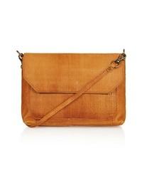 Topshop Textured Leather Crossbody Bag Tan