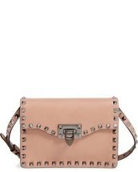 Valentino Rockstud Calfskin Leather Shoulder Bag Brown
