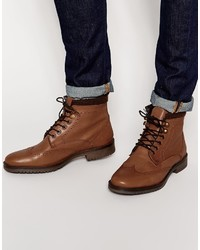 Asos Brand Brogue Boots In Tan Leather