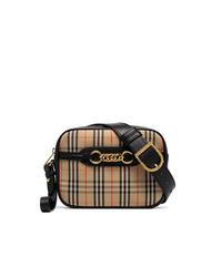 Burberry Antique Garnet Link Fabric Leather Belt Bag