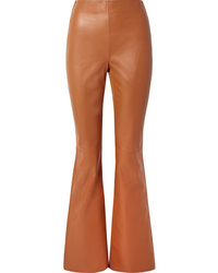 Acne Studios Ed Leather And Ribbed Jersey Flared Pants