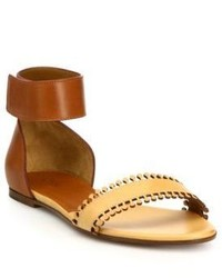 Chloé Chloe Leather Scalloped Flat Sandals