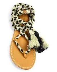 001e0f0562a5 ... Soludos Cotton Lace Up Flat Sandals ...