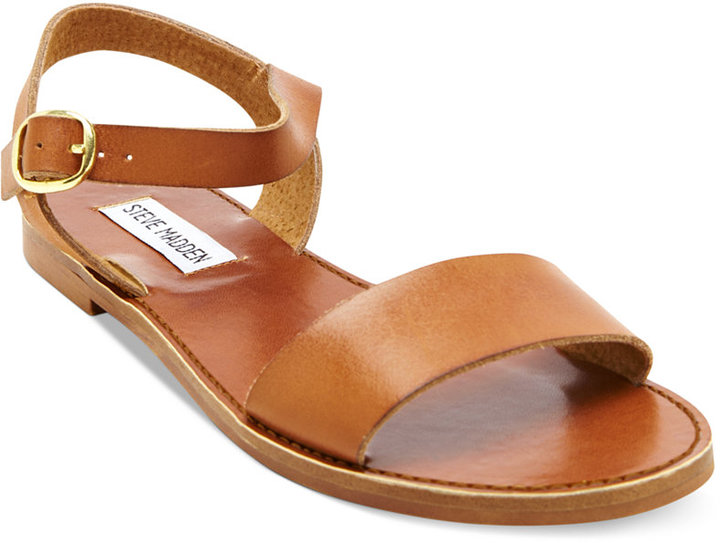 236e045c3c7 ... Tan Leather Flat Sandals Steve Madden Donddi Flat Sandals ...