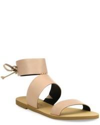 286c03b73e1134 Women s Tan Leather Flat Sandals by Rebecca Minkoff