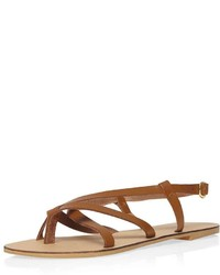 Leather Tan Spangle Sandals