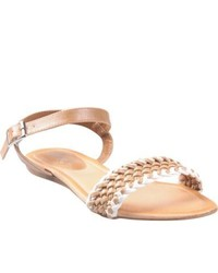 Refresh By Beston Kiki 04 Tan Braided Vamp Flat Sandals