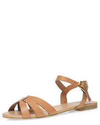 Tan Shine Two Part Sandals