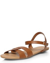 Dorothy Perkins Tan Shiny Strap Sandals