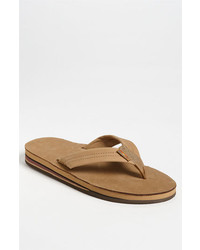 Tan Leather Flip Flops