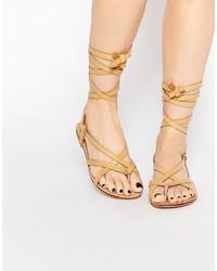 Glamorous Tan Tie Up Flat Gladiator Sandals