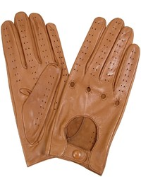 Forzieri Tan Perforated Italian Leather Driving Gloves