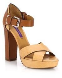 Ralph Lauren Bicolor Leather Platform Sandals