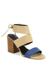 Rebecca Minkoff Christy Leather Denim Block Heel Sandals