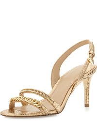 c65a3b7effba ... MICHAEL Michael Kors Michl Michl Kors Jackie Chain Link Mid Heel Sandal  Pale Gold