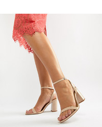 ASOS DESIGN Wide Fit Hong Kong Barely There Block Heeled Sandals