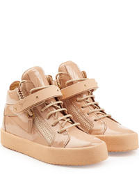 Tan Leather High Top Sneakers