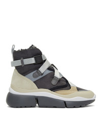Chloé Grey And Beige Sonnie High Top Sneakers