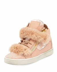 Giuseppe Zanotti Side Zip Fur Trimmed High Top Sneaker