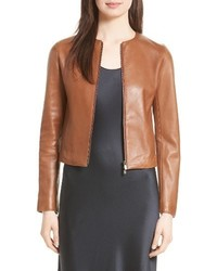 Collarless zip front leather jacket medium 4014856