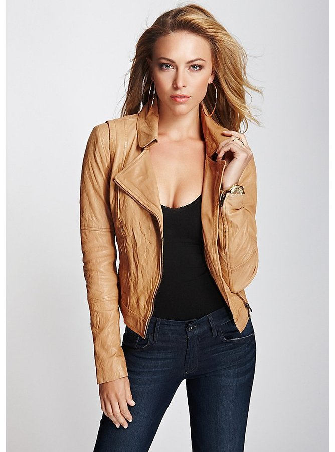 Tan Leather Jacket: GUESS Carly Genuine Leather Jacket ...