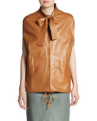 Valentino Leather Tie Neck Zip Jacket
