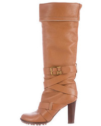 Chloé Buckle Accented Knee High Boots