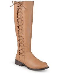 Journee Collection Cinch Knee High Lace Up Riding Boots