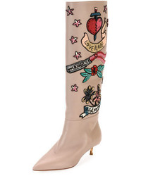 Garavani loveblade twist heel embellished knee boot poudre medium 3942445