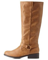 551a860446864a Charlotte Russe Harnessed Knee High Riding Boots