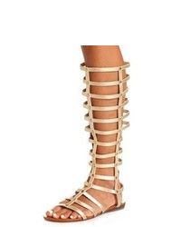 Tan Leather Knee High Gladiator Sandals