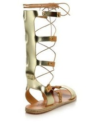 6521b7ea793e Ancient Greek Sandals Thebes Metallic Leather Tall Gladiator Sandals ...