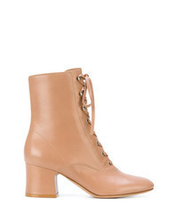 Tan Leather Lace-up Ankle Boots